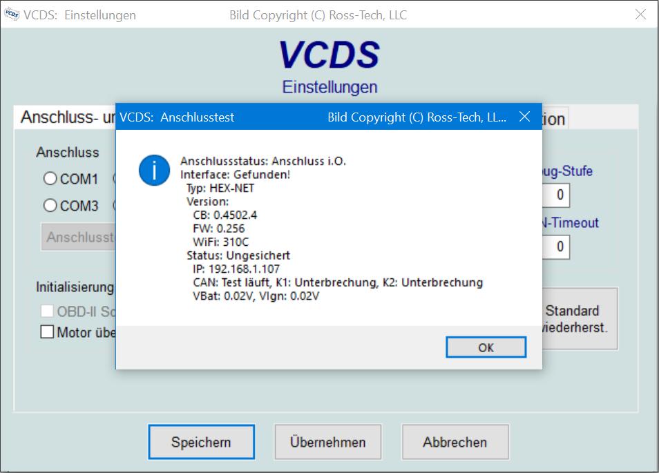 VCDS-Anschlusstest Übersicht