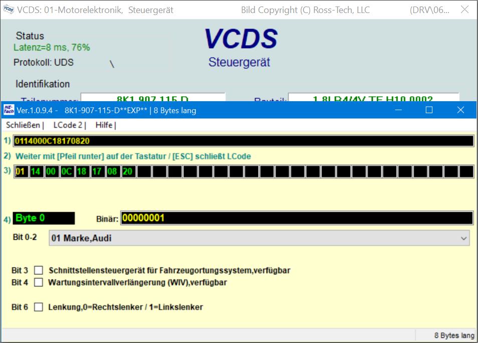 VCDS-Codierungsassistent. Übersicht