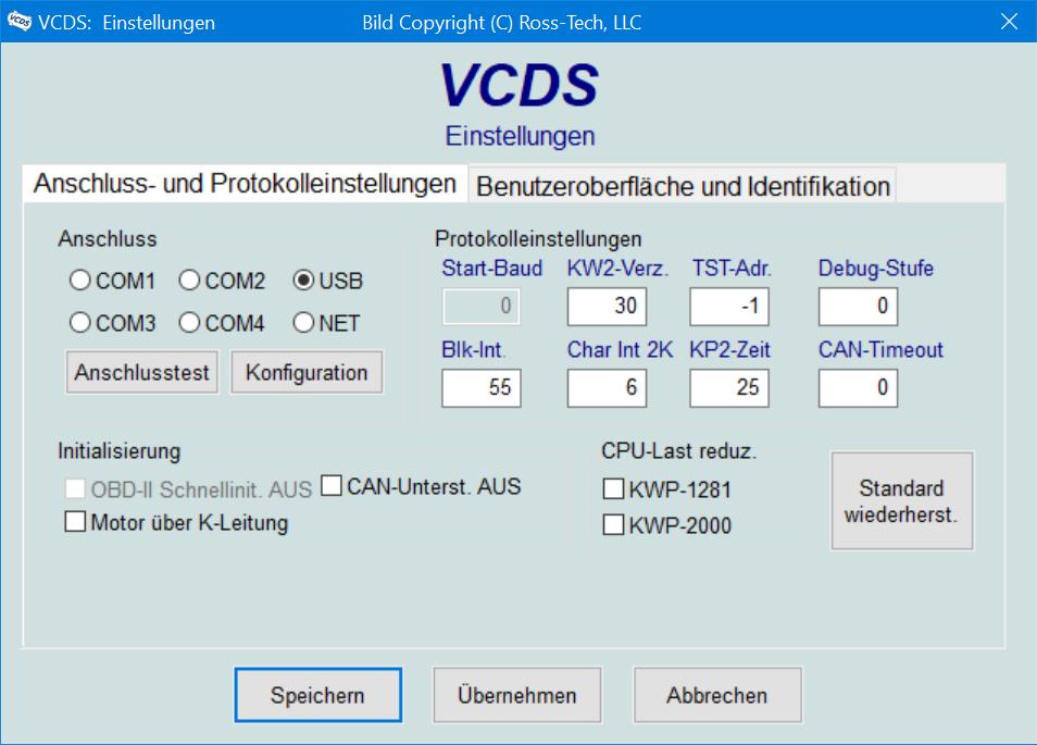 VCDS-Einstellungen Übersicht