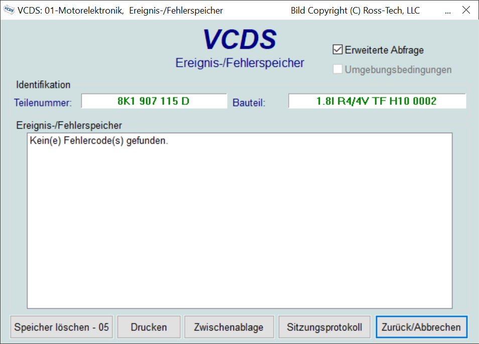 VCDS-Fehlerspeicher Übersicht