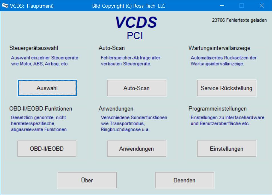 VCDS-HauptmenuePCI Übersicht