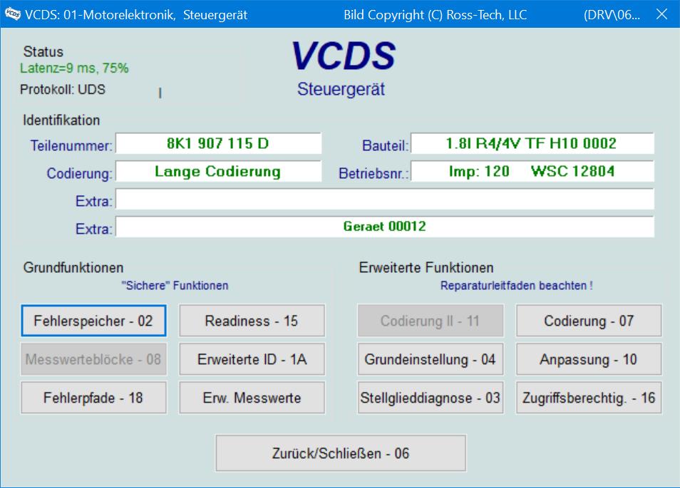 VCDS-Motorsteuergeraet Übersicht
