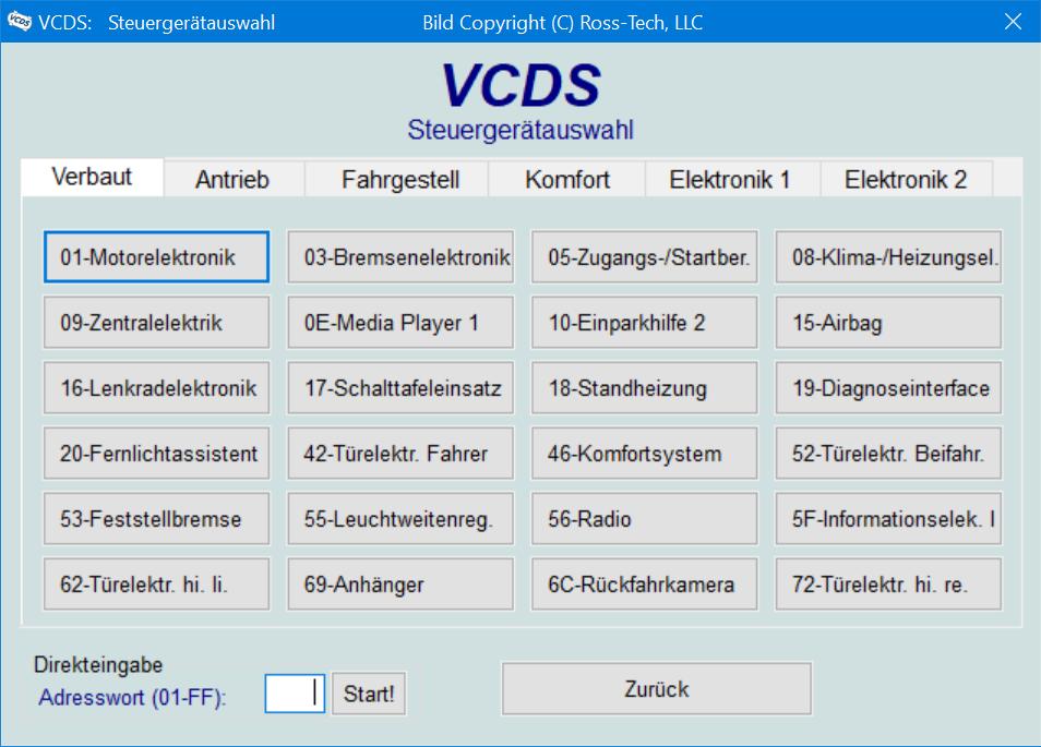 VCDS-Steuergeraeteauswahl Übersicht